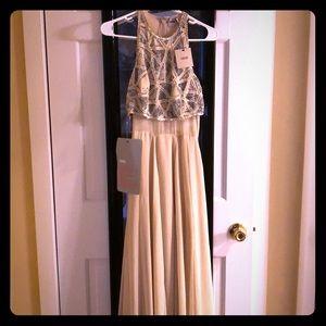 Nude, beaded floor length dress